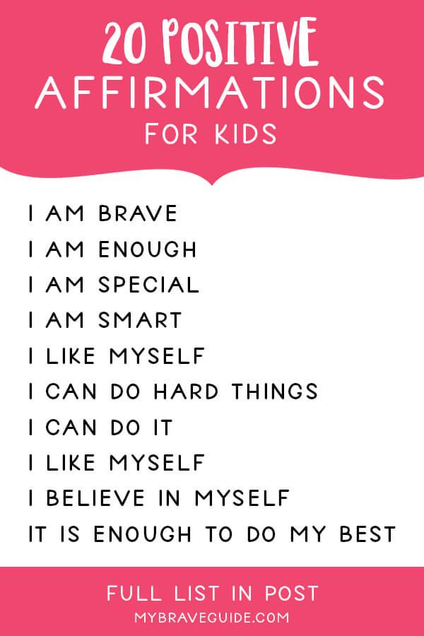 20 Positive Affirmations for Kids