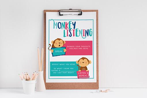 Monkey Listening Printable